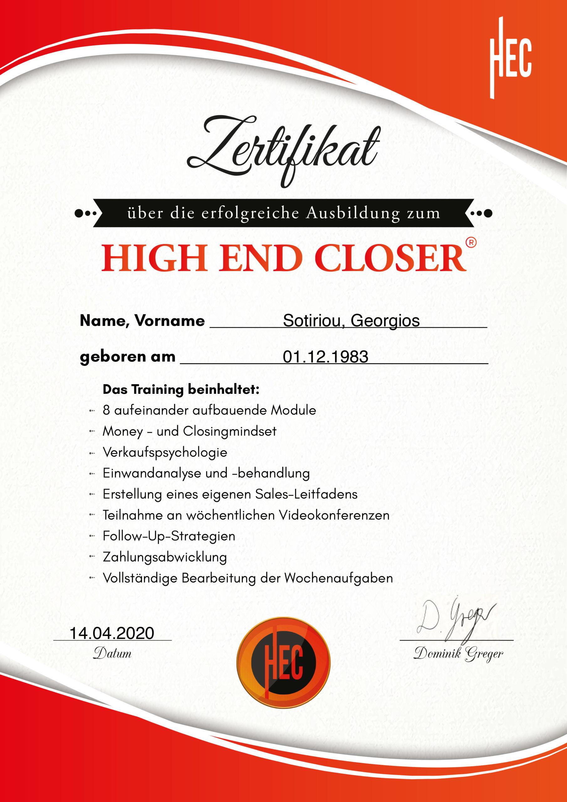 Georgios Sotiriou High End Closer Zertifikat